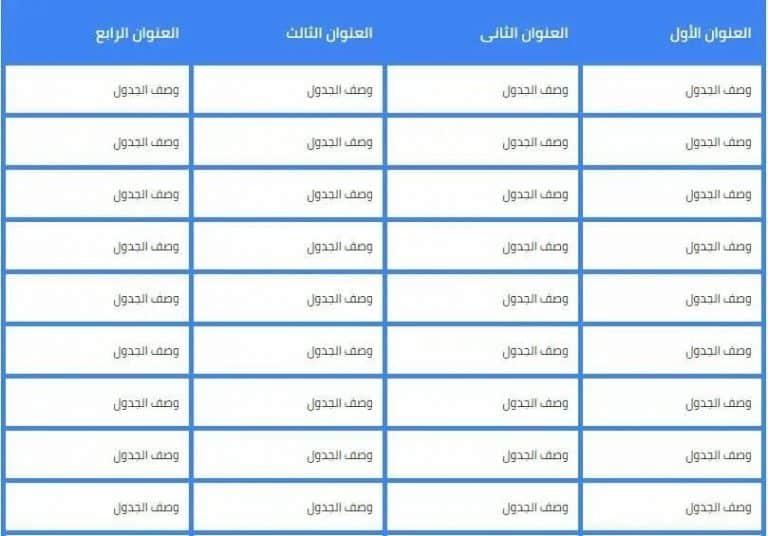 انشاء جدول في بلوجر داخل المقالات بأكواد HTML و CSS