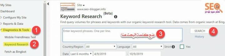 البحث عن الكلمات الرئيسية المستهدفه