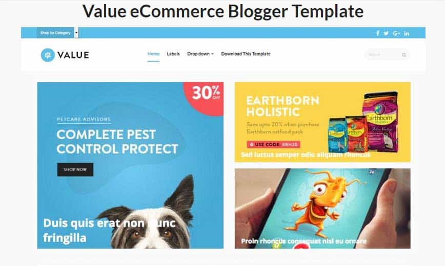 قالب بلوجر تجاري Value eCommerce Blogger Template